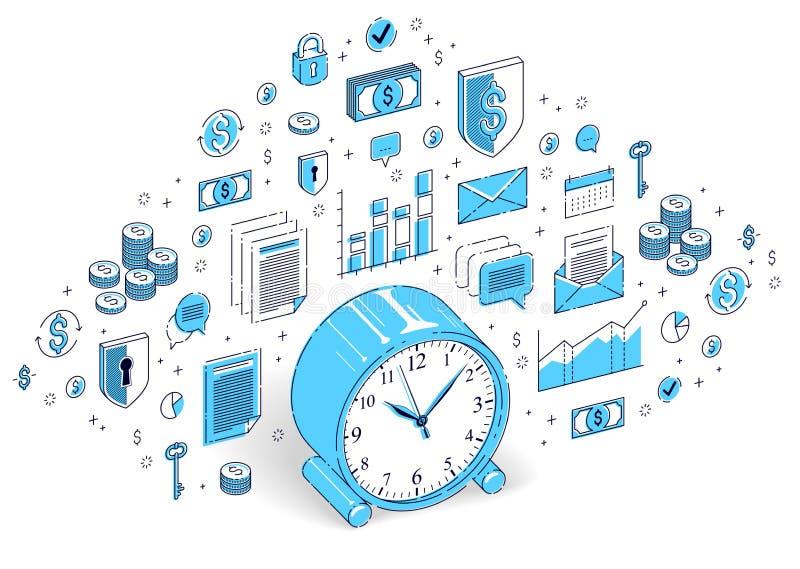 在白色背景隔绝的台式时钟,时间安排,事务dea 向量例证