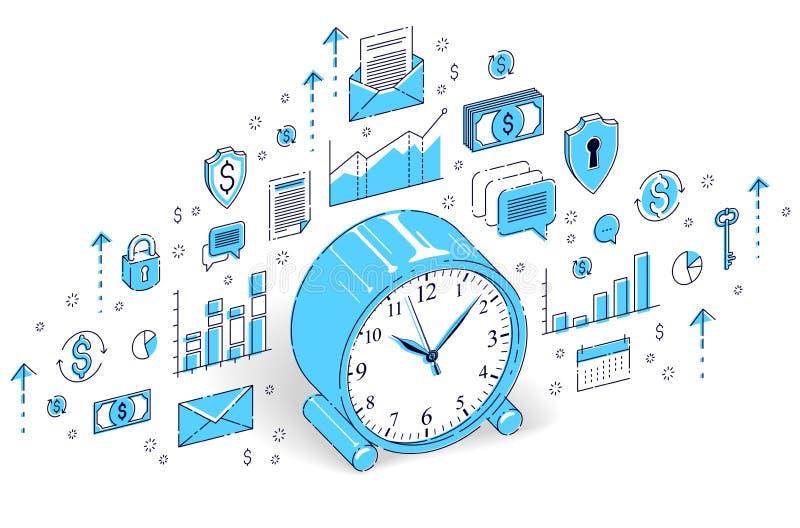 在白色背景隔绝的台式时钟,时间安排,事务dea 库存例证