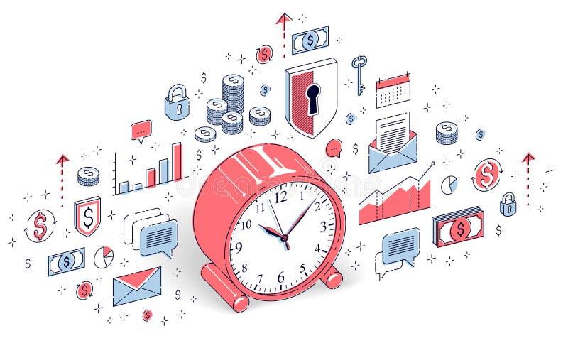 在白色背景隔绝的台式时钟,时间安排,企业最后期限,时间是金钱概念 等量3d传染媒介财务 向量例证