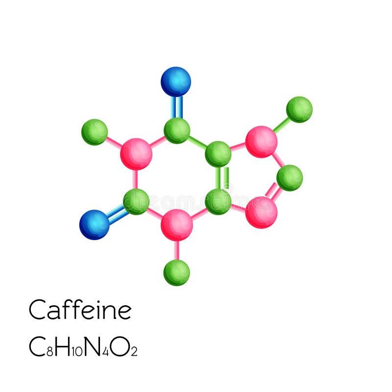 在白色背景隔绝的咖啡因结构化学式 皇族释放例证