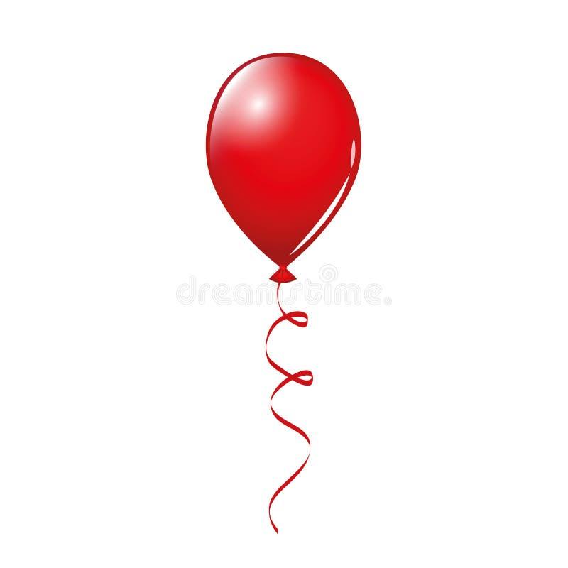 在白色背景隔绝的唯一红色气球 皇族释放例证