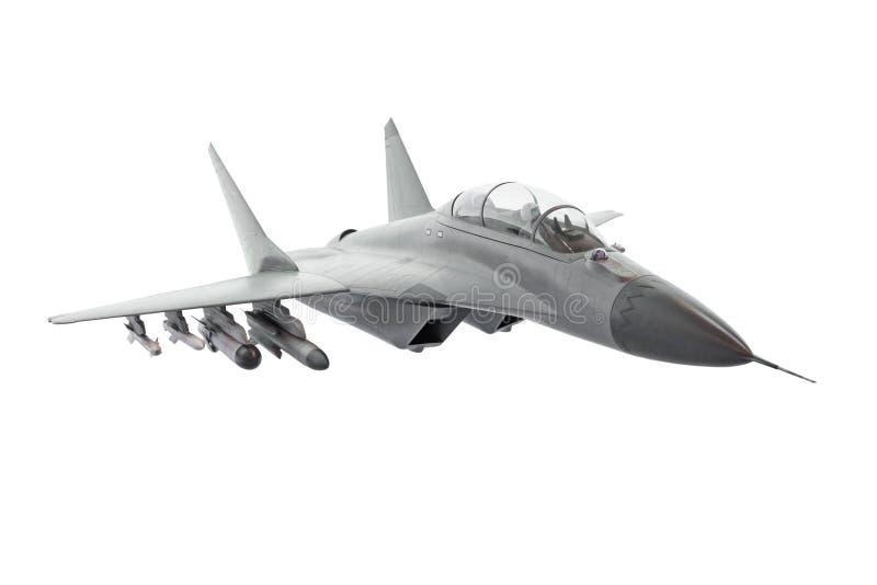 在白色背景隔绝的喷气式歼击机飞机 免版税库存图片