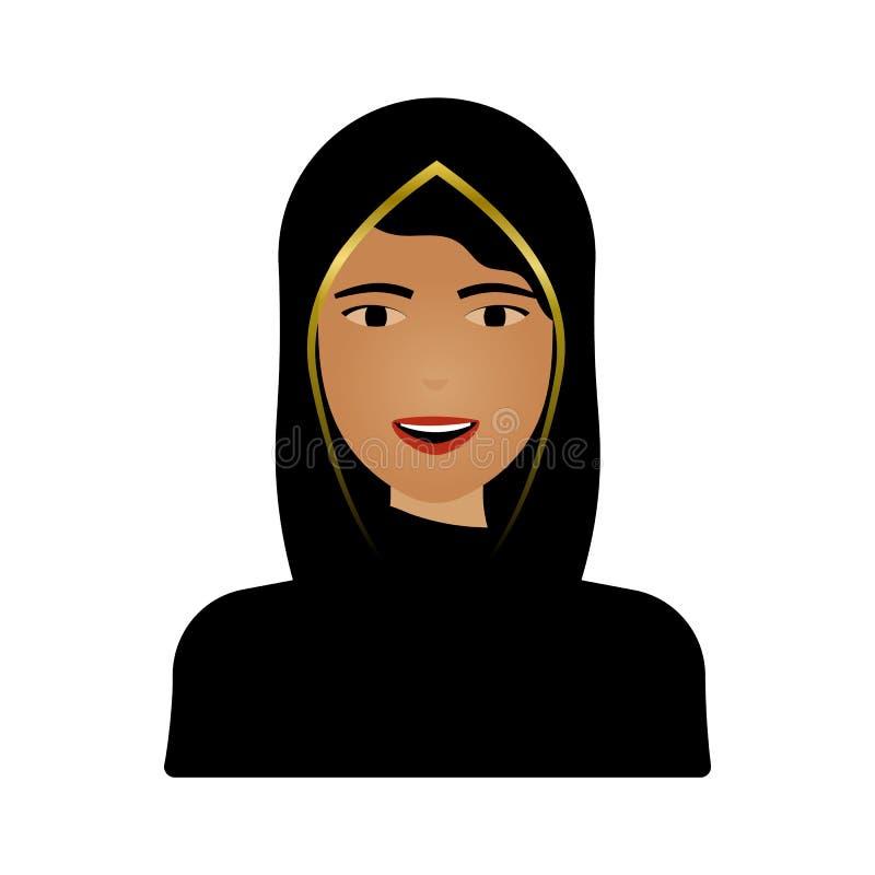 在白色背景隔绝的回教女性画象 hijab的传统年轻阿拉伯妇女 向量例证
