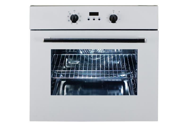 在白色背景隔绝的固定煤气炉 不锈钢烤箱正面图与一个大量温暖的抽屉的 范围 库存图片