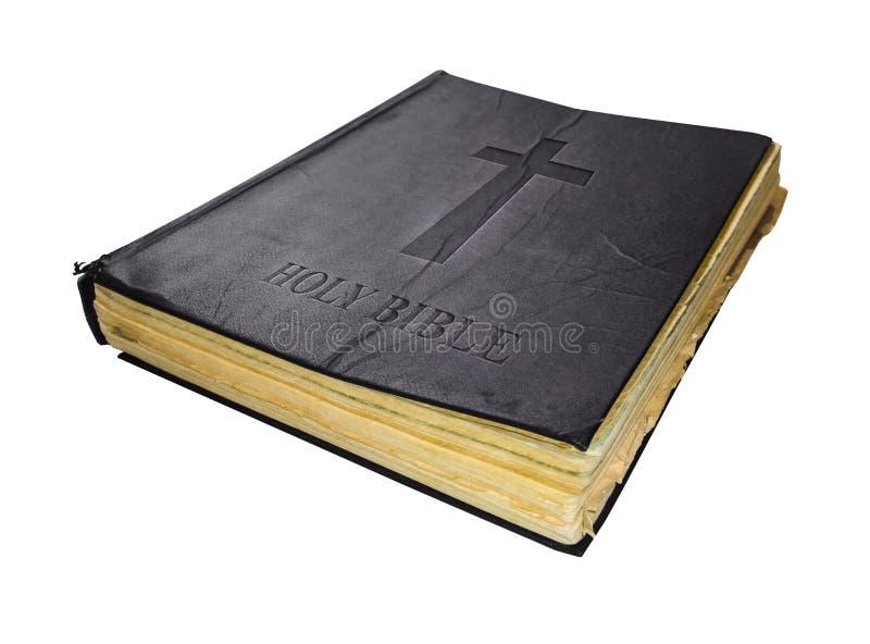 在白色背景隔绝的圣经老圣洁神圣的书 免版税图库摄影