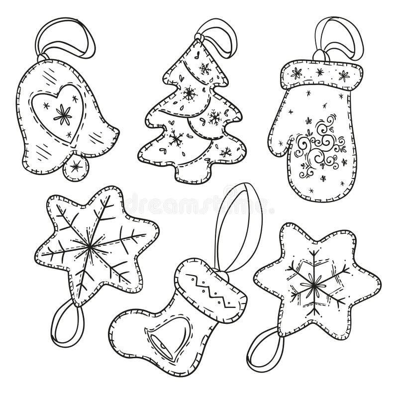 在白色背景隔绝的圣诞快乐装饰手拉的元素 向量例证