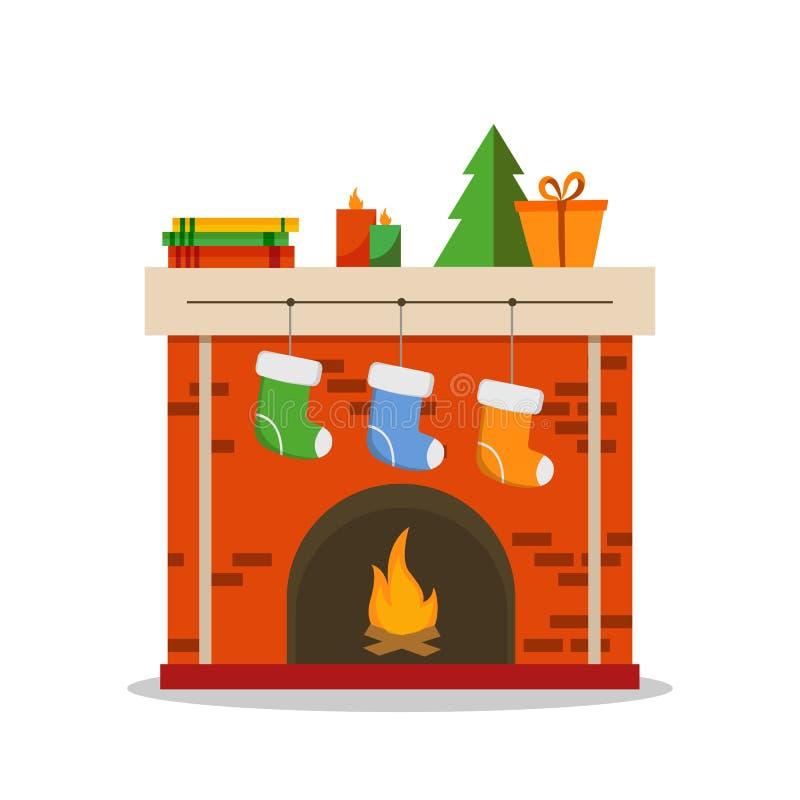 在白色背景隔绝的圣诞节壁炉象平的例证,传染媒介 库存例证