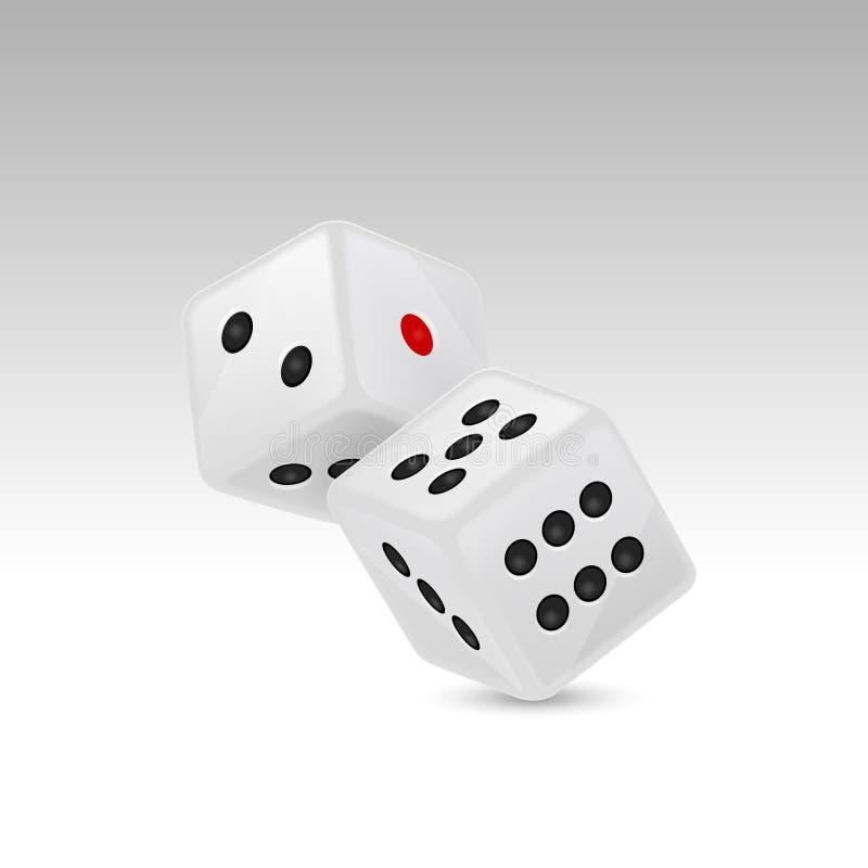 在白色背景隔绝的在飞行中白色现实比赛模子象特写镜头的传染媒介例证 赌博的赌博娱乐场 皇族释放例证
