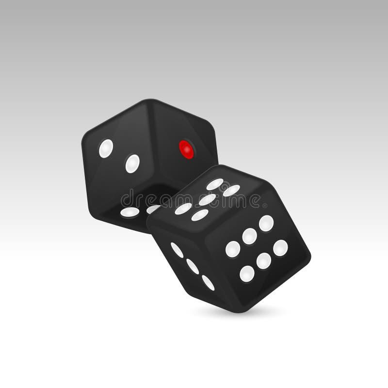 在白色背景隔绝的在飞行中黑现实比赛模子象特写镜头的传染媒介例证 赌博的赌博娱乐场 皇族释放例证
