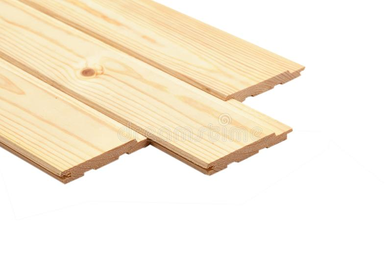在白色背景隔绝的堆木板条 免版税库存图片