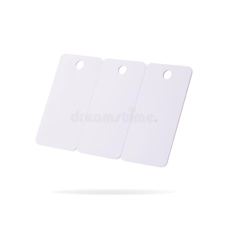 在白色背景隔绝的塑料卡集 价牌或垂悬的标签您的设计的 裁减路线或删去对象为 库存图片