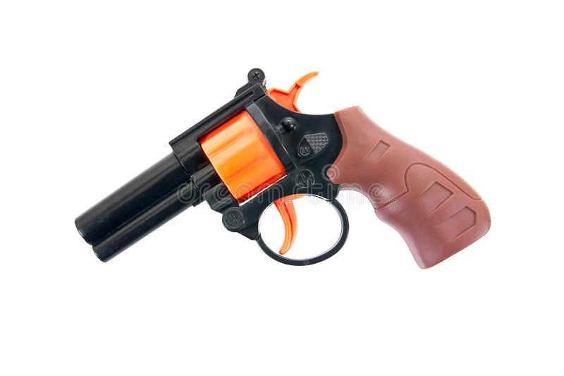 在白色背景隔绝的塑料手枪玩具 孩子左轮手枪玩具 玩具枪 玩具手枪 免版税库存图片