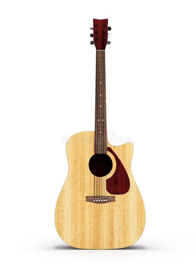 在白色背景隔绝的声学吉他正面图3d 向量例证