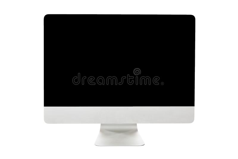 在白色背景隔绝的大个人计算机计算机显示器显示 IT大模型 库存图片