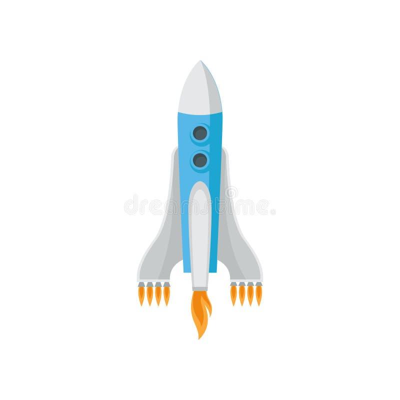 在白色背景隔绝的大太空火箭 有九发动机起火的太空飞船 飞行航天器 平的传染媒介设计 库存例证