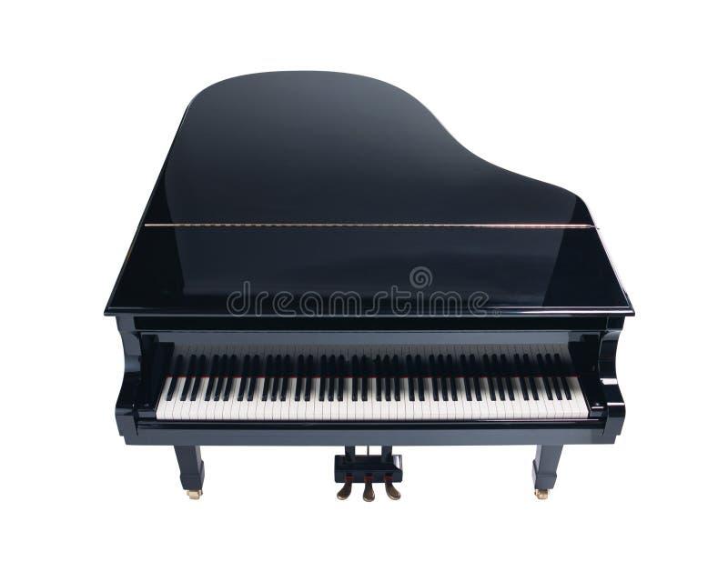 在白色背景隔绝的大平台钢琴 免版税库存照片