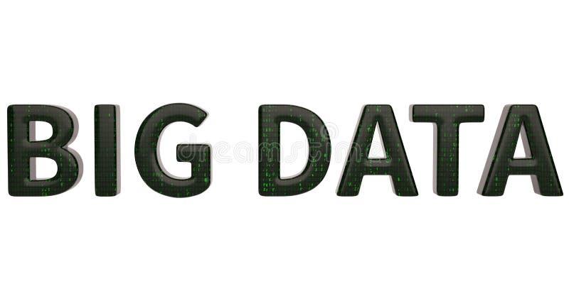 在白色背景隔绝的大数据字 3d例证 向量例证