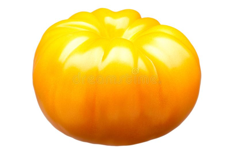 在白色背景隔绝的大黄色蕃茄 免版税库存图片