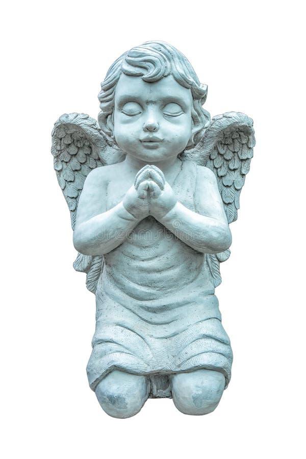 在白色背景隔绝的天使祈祷的美丽的雕象 天使雕塑 库存照片