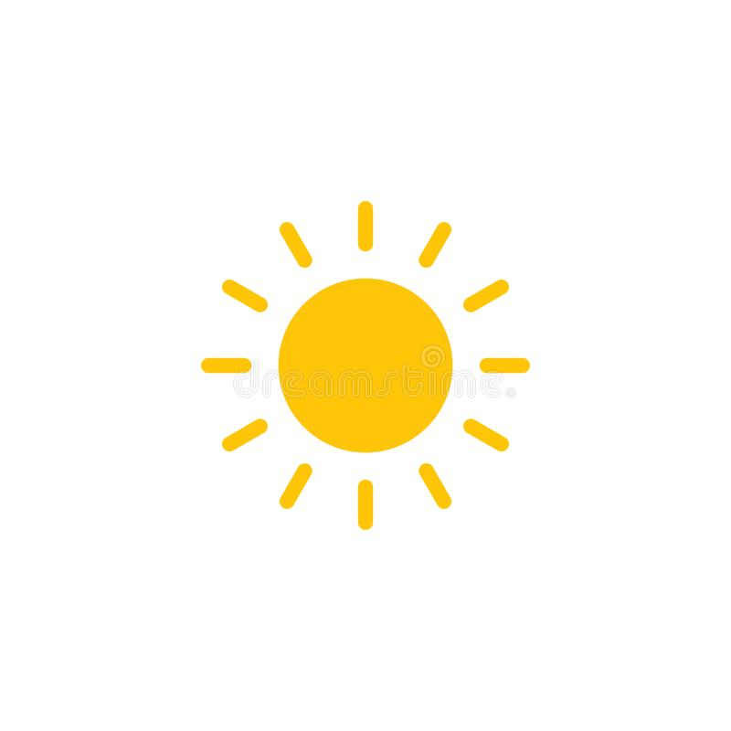 在白色背景隔绝的太阳平的传染媒介象 向量例证