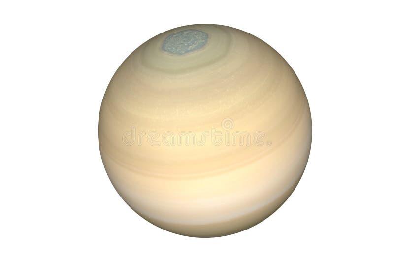 在白色背景隔绝的太阳系土星行星 库存照片