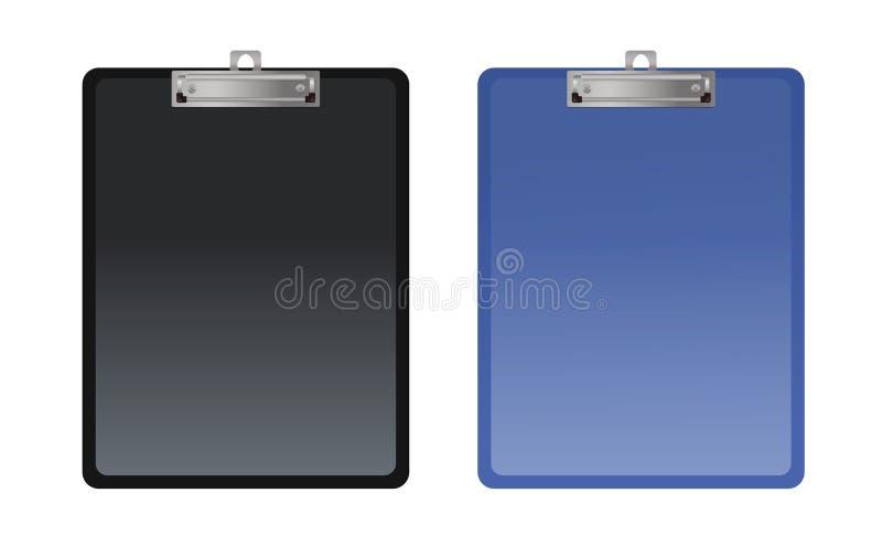 在白色背景隔绝的套两张剪贴板 向量例证