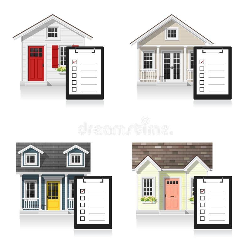 在白色背景隔绝的套小屋和剪贴板 库存例证