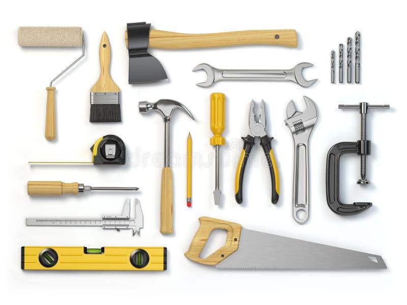 在白色背景隔绝的套工具 锤子,螺丝刀, 库存例证