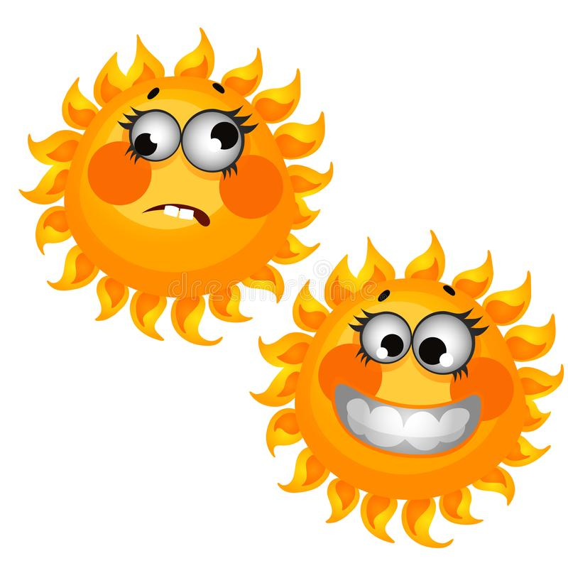 在白色背景隔绝的套滑稽的笑的太阳 传染媒介动画片特写镜头例证 向量例证