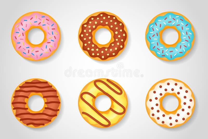 在白色背景隔绝的套甜点给上釉的油炸圈饼 库存例证