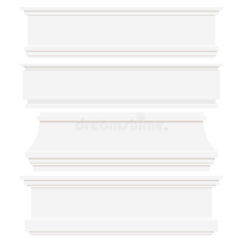 在白色背景隔绝的套白色塑料或木护壁板 皇族释放例证