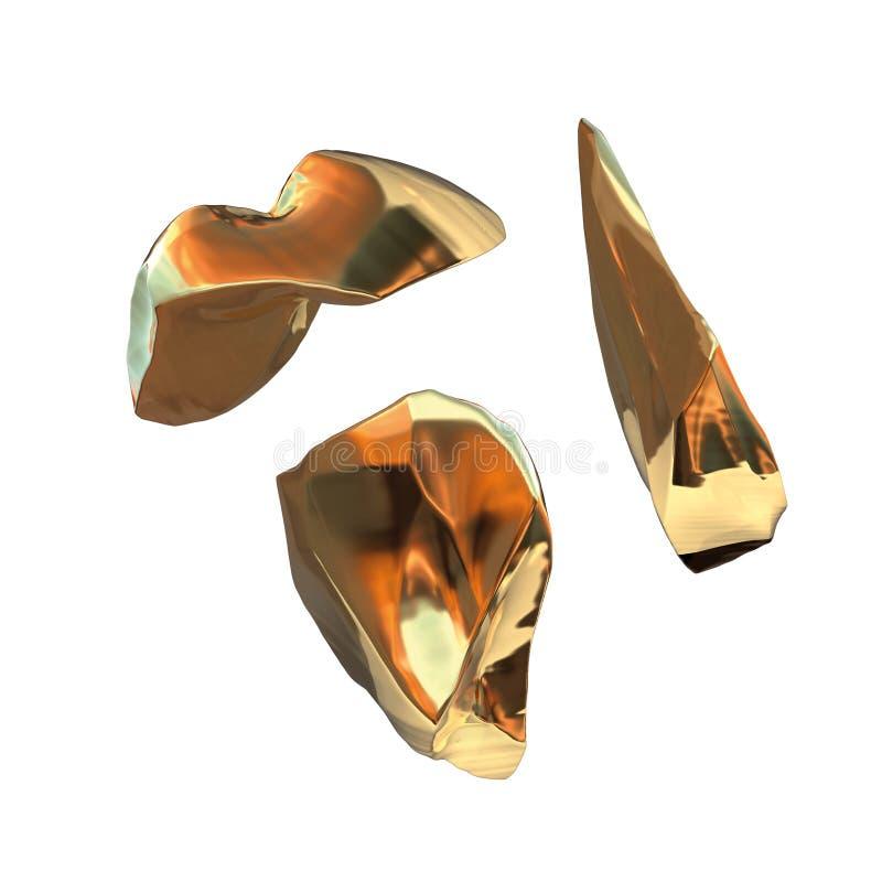 在白色背景隔绝的套金黄矿块 另外酒吧特写镜头财富富有的采矿bitcoin概念3d 皇族释放例证