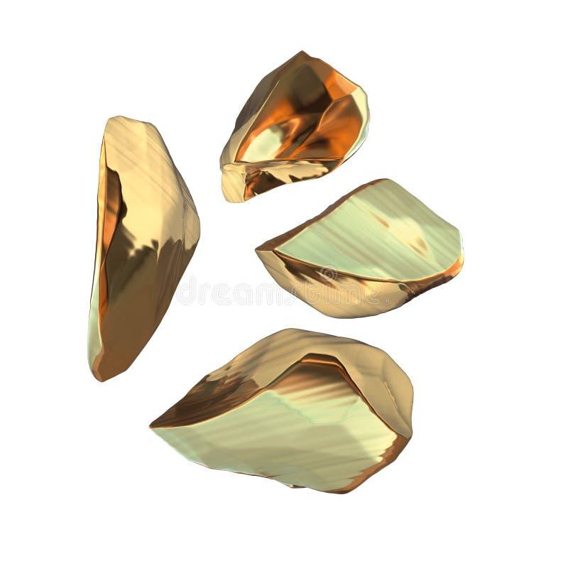 在白色背景隔绝的套金黄矿块 另外酒吧特写镜头财富富有的采矿bitcoin概念3d 库存例证