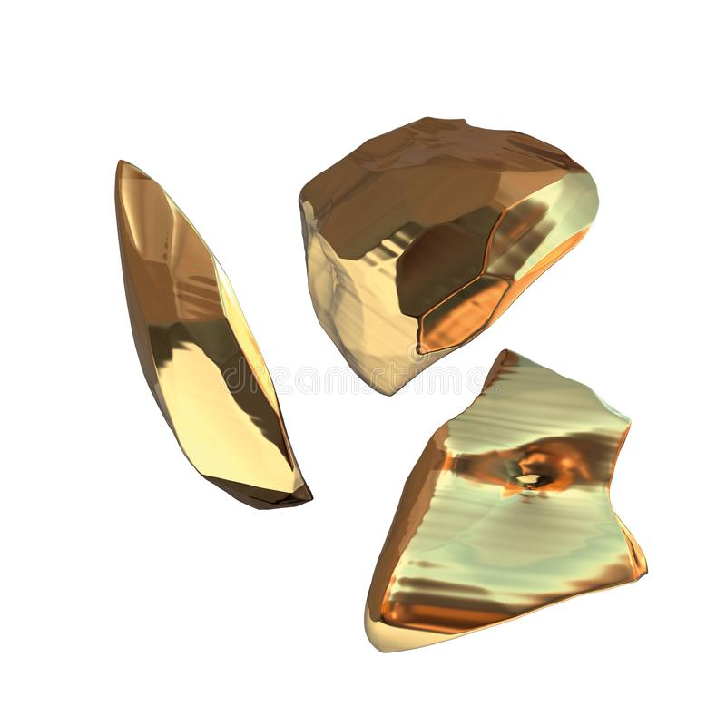 在白色背景隔绝的套金黄矿块 另外酒吧特写镜头财富富有的采矿bitcoin概念3d 向量例证