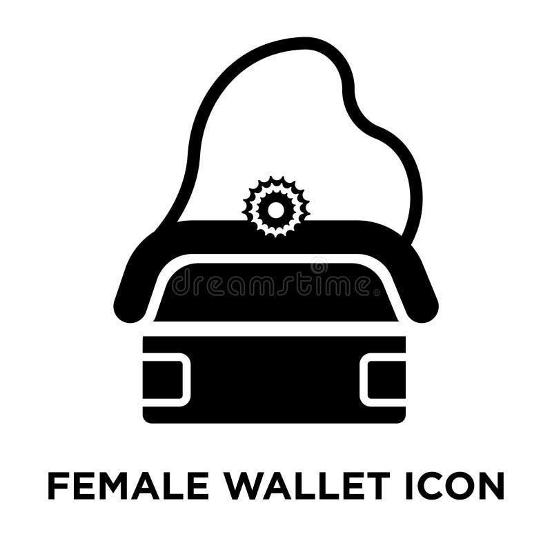 在白色背景隔绝的女性钱包iconÂ传染媒介,商标c 库存例证