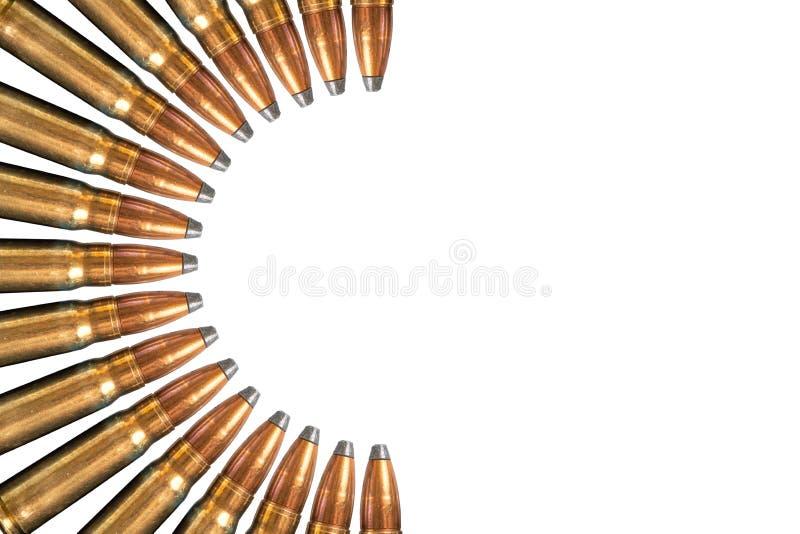 在白色背景隔绝的子弹拼贴画  顶视图,与拷贝空间 免版税库存照片