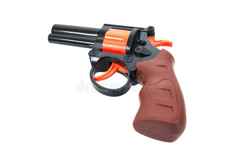 在白色背景隔绝的孩子的塑料玩具枪 ???? 库存照片