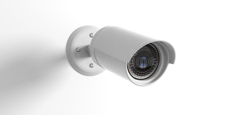 在白色背景隔绝的安全监控相机cctv 3d例证 向量例证