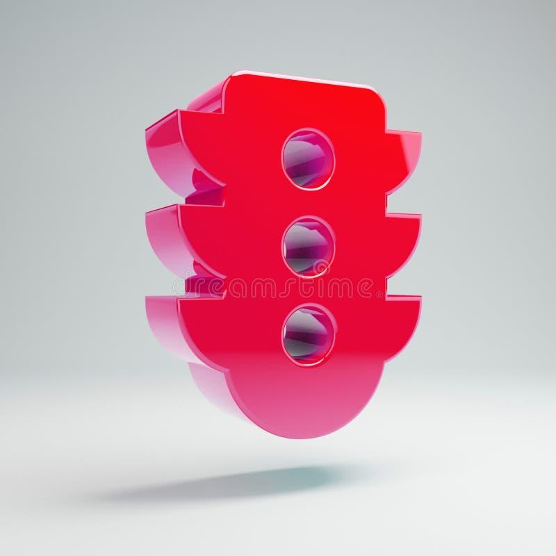在白色背景隔绝的容量光滑的流行粉红红灯象 向量例证
