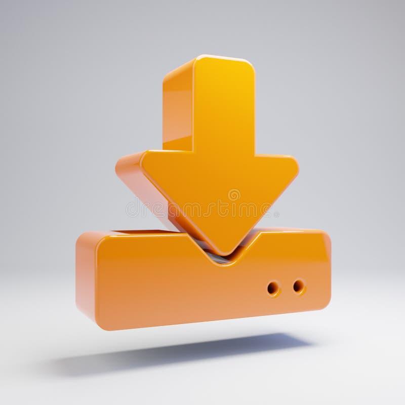 在白色背景隔绝的容量光滑的热的橙色下载象 皇族释放例证