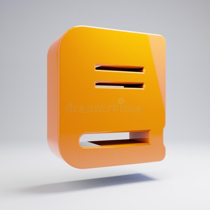 在白色背景隔绝的容量光滑的热的橙色书象 向量例证
