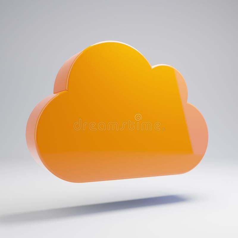 在白色背景隔绝的容量光滑的热的橙色云彩象 皇族释放例证