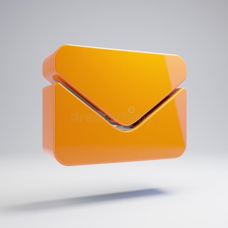 在白色背景隔绝的容量光滑的热的橙色信封象 向量例证