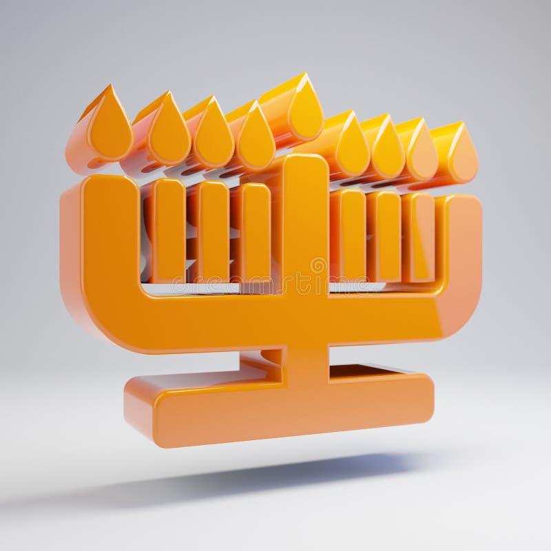 在白色背景隔绝的容量光滑的热的橙色光明节象 向量例证