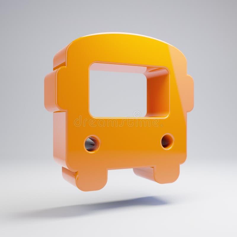 在白色背景隔绝的容量光滑的热的橙色公共汽车象 皇族释放例证