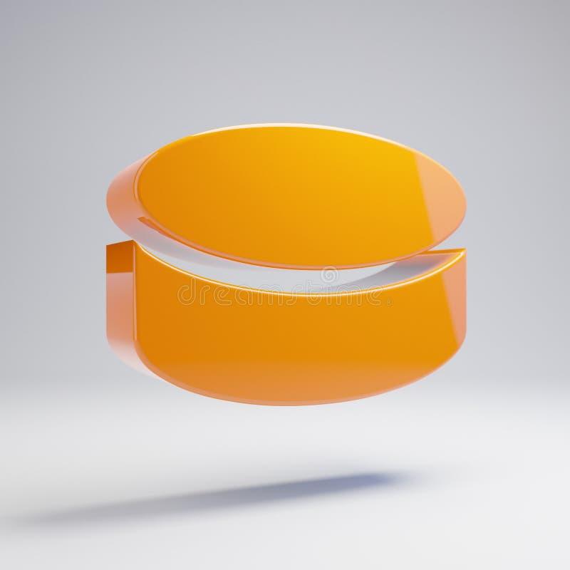 在白色背景隔绝的容量光滑的热的橙色冰球象 库存例证