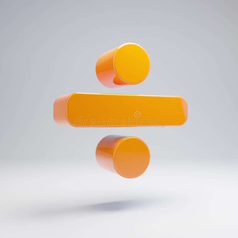 在白色背景隔绝的容量光滑的热的橙色分界象 库存例证