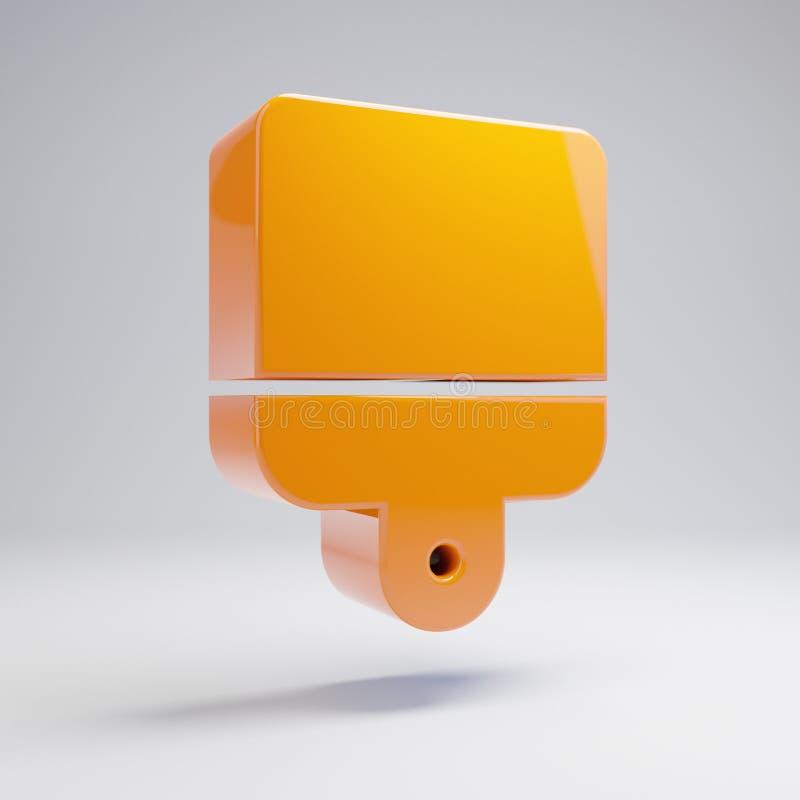 在白色背景隔绝的容量光滑的热的橙色刷子象 库存例证