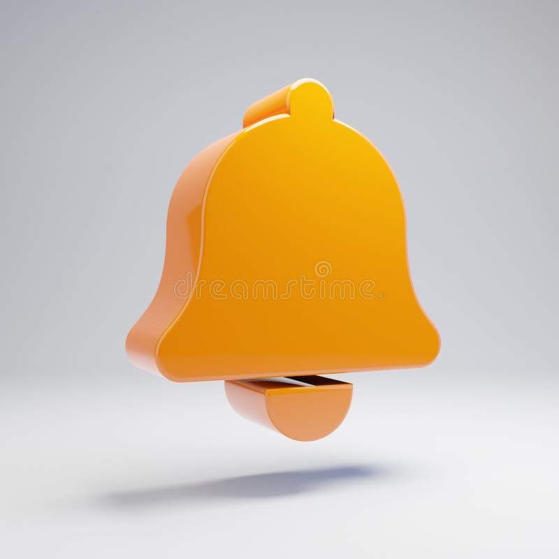 在白色背景隔绝的容量光滑的热的橙色响铃象 皇族释放例证