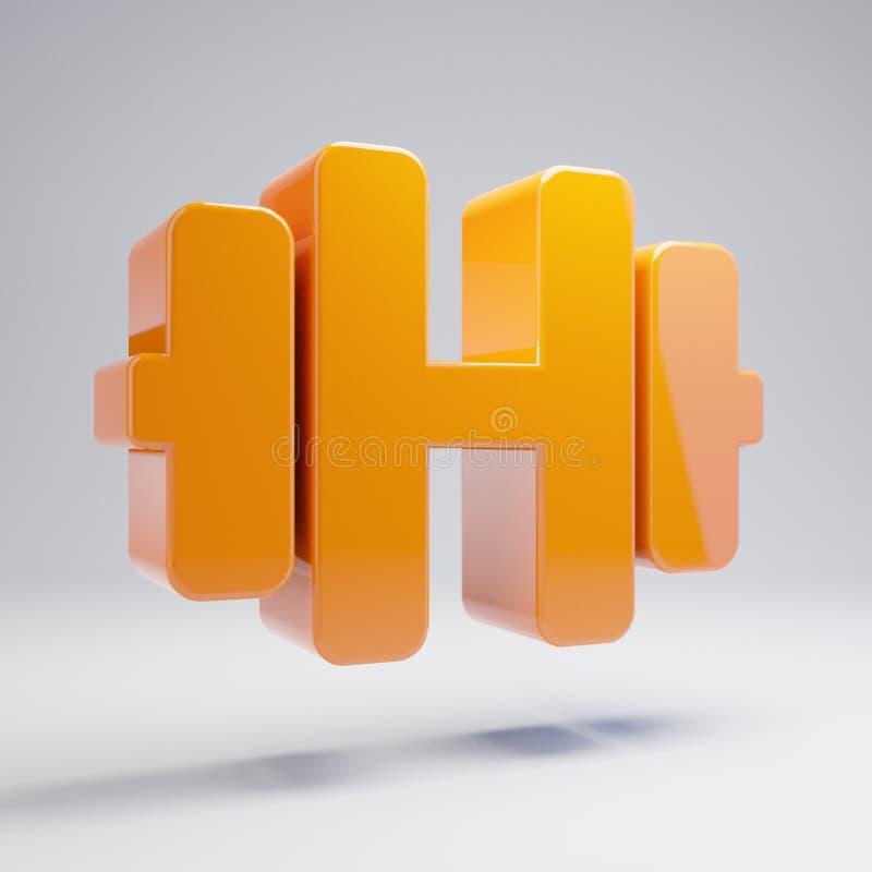 在白色背景隔绝的容量光滑的热的橙色哑铃象 向量例证